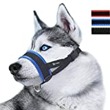 Nylon Dog Muzzle for Large Dogs Prevent from Biting, Barking and Chewing, Adjustable