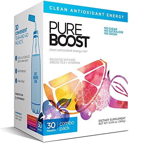 Pureboost Clean Energy Drink Mix. No Sugar. No Sucralose. Healthy Energy Loaded with B12, Antioxidants, 25 Vitamins, Electrolytes. (30 Count)