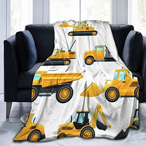 """Aliciga Decke Werfen,Baumaschinen und Maschinen mit LKW-Kran und Bulldozer Flat Icons Set,Mikrofaser Ganzjahresbett Couch,60"""" x 80"""""""