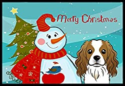 Snowman with Cavalier Spaniel Indoor or Outdoor Mat, 18 by 27