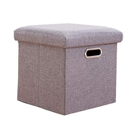 FabThing Sitzhocker Sitzwürfel mit Stauraum Faltbarer Sitzhocker Aufbewahrungsbox Hohlbauweise Gedächtnisschaum Deckel Aufgefüllt Platzsparend 30x30x30cm Grau