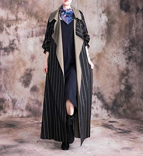 Płaszcz Damska Plus Rozmiar Paski Długi Płaszcz Kratę Kostium Kołnierz Casual Odzież Damskie płaszcze Wuyuana (Color : Black, Size : One Size)