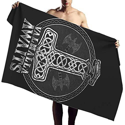 NICEWL Viking Thors Hammer Axes Print Badetuch,Nordische Mythologie Mjolnir Valhalla...