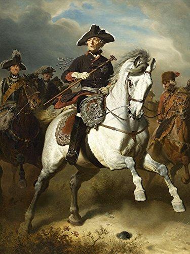 Artland Alte Meister Wandbild Wilhelm Camphausen Friedrich der Große zu Pferde Leinwand Bilder 80 x 60 cm Kunstdruck Gemälde Impressionismus R1IA