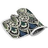 iuitt7rtree - Manoplas para horno y agarraderas (2 piezas), diseño de plumas de pavo real y alfombrilla de soporte para ollas, resistente al calor, soporte para ollas con textura antideslizante
