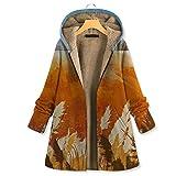 Zylione Abrigo largo de invierno para mujer, abrigo de invierno, cálido, estampado de flores, bolsillos con capucha, abrigos grandes, abrigos clásicos, con cremallera Nº 01-naranja L