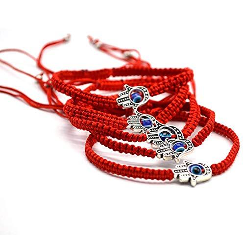 Reizteko 5pcs Lucky Hamsa String Line Kabbalah Bracelets Bangle Braided String Cord and Rotating Evil Eye Hamsa Hand - Jewish Amulet Pendant for Success Protection Lucky (5 pcs red string bracelet)