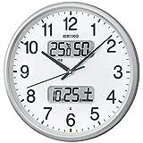 セイコークロック 掛け時計 02:銀色メタリック 本体サイズ:直径35.0x5.2cm 【ギフト包装】電波 アナログ カレンダー温度 湿度 BC405S
