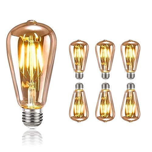 tronisky Edison Vintage Glühbirne, Edison LED Glühbirne E27 4W Vintage Antike Glühbirne Warmweiß Dekorative Glühbirne Ideal für Nostalgie und Retro Beleuchtung im Haus Café Bar usw, 6 Stück