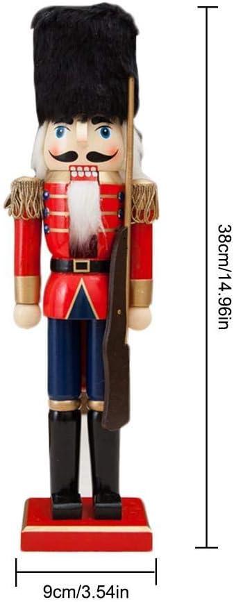 Luckyrainbow 38 cm Casse-noisette en bois de soldat Casse-Noisette de No/ël D/écoration /à suspendre pour arbre de No/ël Marionnette Jouet Cadeaux Chambre denfant D/écoration King