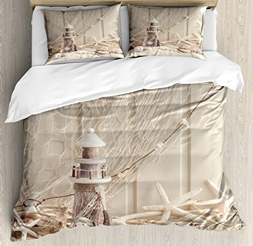 Ambesonne Fishing Net Duvet Cover Set, Marine Theme Sea Stars and Shells Underwater Life Wooden Lighthouse Print, Decorative 3 Piece Bedding Set with 2 Pillow Shams, Queen Size, Beige Cream