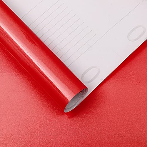 15.7''X118''Red Contact Paper Glossy Red Wallpaper Waterproof Peel and Stick Wallpaper Self Adhesive Removable Vinyl Film Decorative for Kitchen Cabinet Countertops Furniture