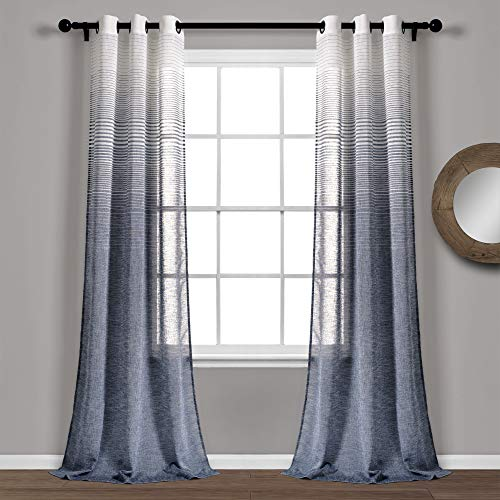 "Lush Decor, Navy Ombre Stripe Grommet Sheer Window Curtain Panel Pair, 84"" x 38"""
