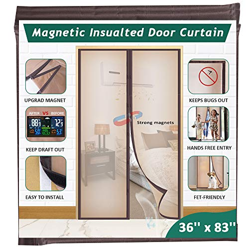 Mkicesky Upgrade Magnetic Insulated Door Curtain, Fits Doors up to 34 x 82 Inch,EVA Doorway Cover to Keep Draft Out in Winter, Kids Pets Walk Thro with Hands Free with Full Frame Hook & Loop - Brown
