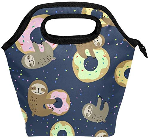 Sloth Animal - Bolsa de almuerzo con cremallera aislada para adultos, adolescentes, niños, niñas, hombres, mujeres, Sloth Donuts, loncheras, loncheras, preparación de comidas, bolso para exteriores,