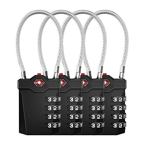 TSA - Lucchetto a 4 cifre, per valigie, valigie, valigie, valigie, valigia TSA, con apertura con indicatore di allarme, cavo di sicurezza per valigia, bagagli, borsa, dispensa (4 pezzi, nero)
