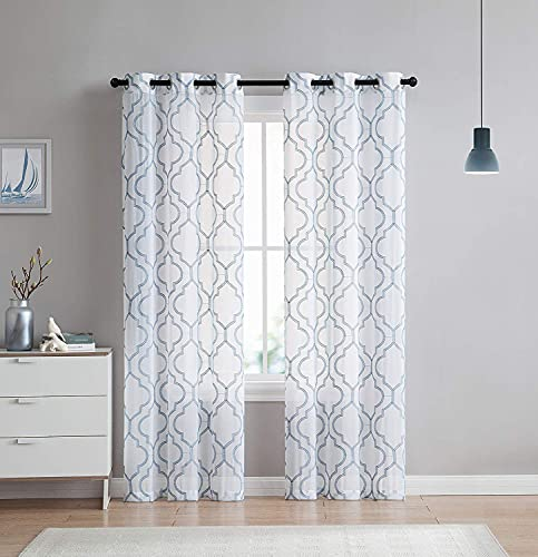 VCNY Home 2 Pack Charlotte Embroidered Quatrefoil Trellis Semi Sheer Curtain Panels - Assorted Colors & Sizes (96 in. Length, Blue)