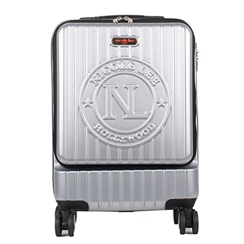 Nicole Lee Women's Carry On [silver] hard Shell Travel Luggage, Laptop Compartment Rolling Wheels, One Size