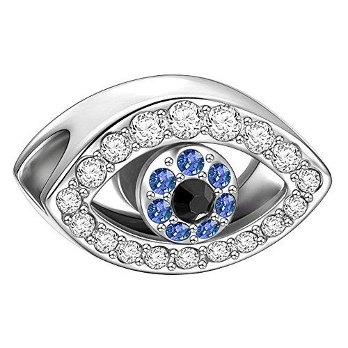 Soufeel 925er Sterling Silber Weiß Swarovski Kristall Türkisches Auge Charm Beads Anhänger
