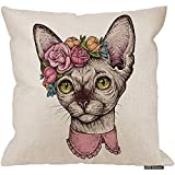 Marlon Kitty Funda de cojín de Almohada de Gato, Gato Lindo de Sphynx de Dibujos Animados con una Corona en la Cabeza Sofá Sofá Escritorio Silla de Dormitorio