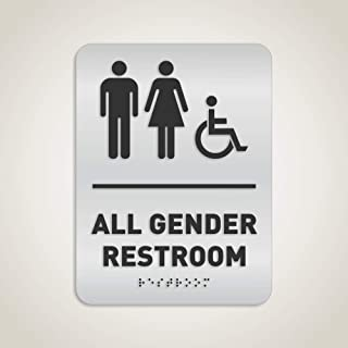 All Gender Restroom Identification Sign - Wheelchair Accessible, ADA Compliant Bathroom Sign, Raised Icons, Raised Braille, Brushed Aluminum, TCO Inspection Certified - by GDS Architectural Signage