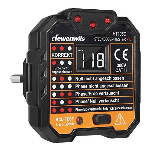 DEWENWILS Steckdosentester mit RCD Prüfung und LCD-Voltage-Display, Kontrollleuchten-Anzeige, FI Test, 48-250V/45-65Hz, CAT ll 300V, CE-Zertifiziert