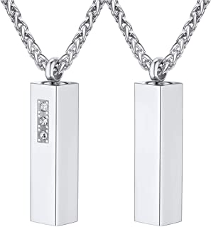 Customized Cremation Urn Necklace Stainless Steel / 18K Gold Plated Personalized Engrave Birthstone Cyclinder Bar/Moon Cat /4D Vertical Bar Memorial Keepsake Jewelry Ashes Locket Pendant with Chain
