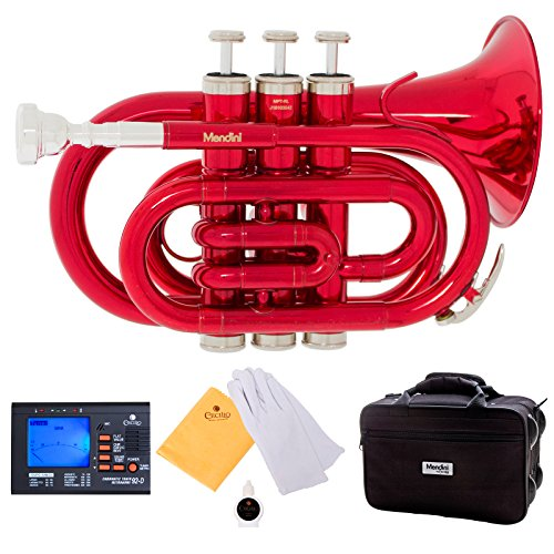 Mendini MPT-RL Red Lacquer Brass Bb Pocket Trumpet with One-Year Warranty, Tuner, Mouthpiece and Deluxe Case