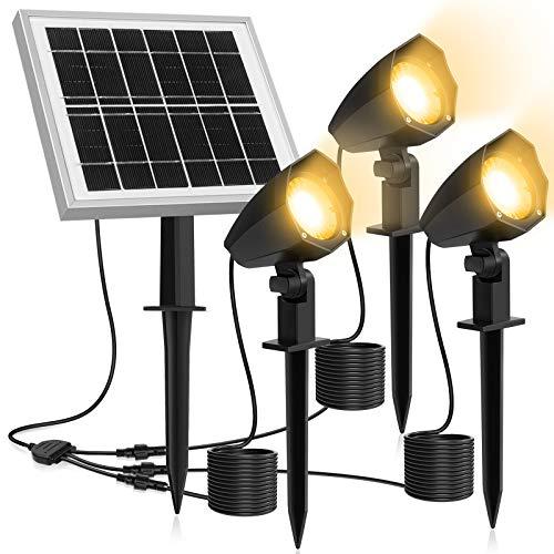 Solarstrahler,Solarleuchten Garten,3 Stück Gartenleuchte Solar 2700K LED Strahler Außen,IP66 Wasserdicht LED Solarlampe, 3 * 1.5W Warmweiß Spotbeleuchtung für Outdoor Rasen Hof Veranda