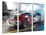 Poster Fotográfico Coche Carreras Rally Nissan Mismo, Garaje con Humo Tamaño total: 97 x 62 cm XXL
