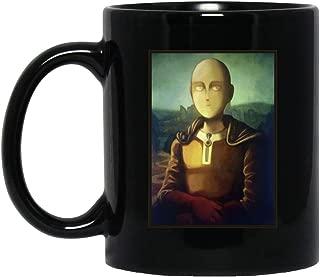 Saitama Smile Mona Lisa Oil Painting Art One Punch Man Tea Mugs & Coffee Cups Black 11oz
