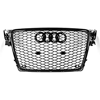 Hoypeyfiy For 09-12 AUDI A4 B8 RS4 STYLE HONEYCOMB HEX MESH FOG LIGHT OPEN VENT GRILL INTAKE