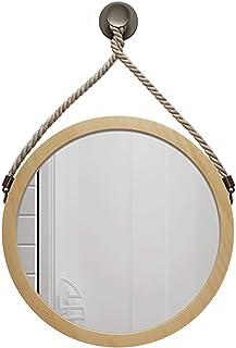 Espejos Montado en la Pared Marco Redondo de bambú Cuerda Colgante Espejo Redondo para baño Dormitorio Guardarropa Entrada...
