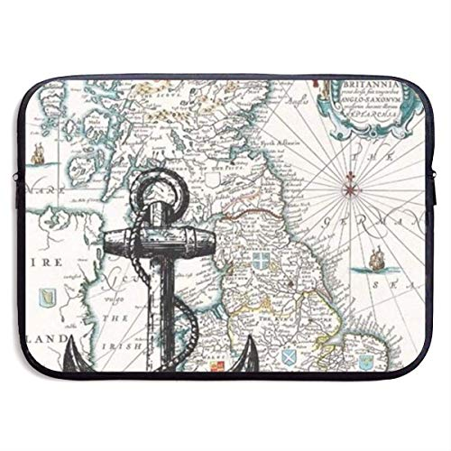 Nautical Map Laptop Sleeve Bag Case,Waterproof and Foldable Laptop Briefcase Neoprene Soft Carring Tablet Travel Case,13 inch