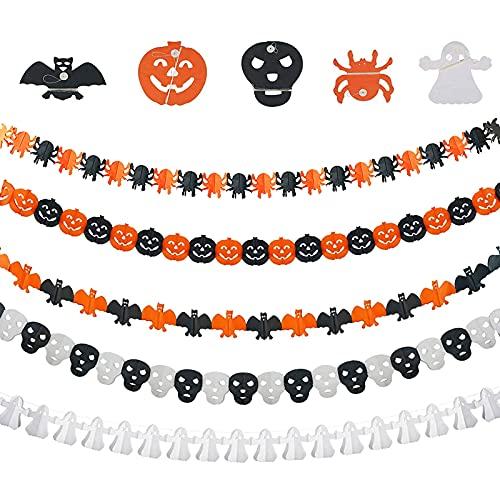 JOKILY 5 guirnaldas de Halloween, decoración para fiestas de Halloween, guirnaldas de Halloween, guirnalda de araña, calabaza, pancarta de papel, decoración colgante para carnaval, Halloween