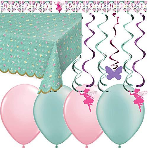 22-TLG. Dekoset  BLUMENFEE  mit Tischdecke + Girlande + Hänge-Dekoration + Luftballons - Partyset Fantasy Mädchen Kindergeburtstag Kinder Motto Party Blumen Fee Floral Fairy glänzend Deko Ballons