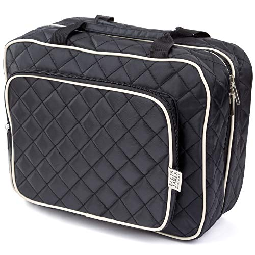 Ellis James Designs Large Travel Toiletry Bag for Women with Hanging Hook, Big Wash Bag - Hair Dryer Case - Multi-use Toiletries Kit Cosmetics Makeup XL Bathroom Organiser Suitcase Luggage (Black)