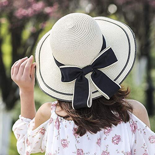 Sun Hat Straw Hat Beach Hat Female Casual Panama Hat Women Flat Brim Bowknot Straw Cap Sun Hat-Beige_56-58