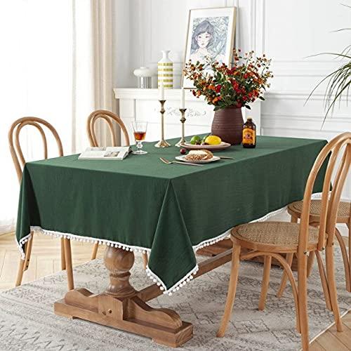 Mantel de algodón Lavado Corea Color sólido Mantel Blanco Amarillo Bola Borla Cubierta de té 140x240cm Verde