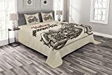 Ambesonne Motorcycle Bedspread, Hand Drawn Chopper Style Bike with Sketch Details Free Spirit of The Rider, Decorative Quilted 3 Piece Coverlet Set with 2 Pillow Shams, Queen Size, Beige Brown