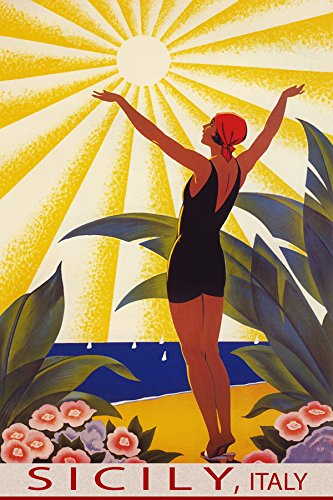 """SUNSHINE SICILY ITALY BEACH GIRL WELCOMING THE SUN SAILING TRAVEL 12"""" X 16"""" VINTAGE POSTER REPRO MATTE PAPER WE HAVE OTHER SIZES"""