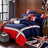 GFYL Juego de Funda nórdica navideña Algodón Arroz Bandera Bandera Viento Europeo y Americano Decorativo Azul Marino Rojo Union Jack Juego de Cama Impreso,G,220 * 240cm(87 * 95inch)