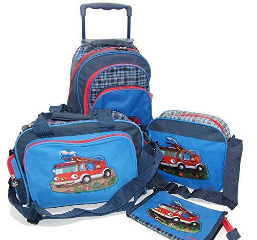Unbekannt Kinder-Trolley - Reise-Set - 4-teilig - Feuerwehr