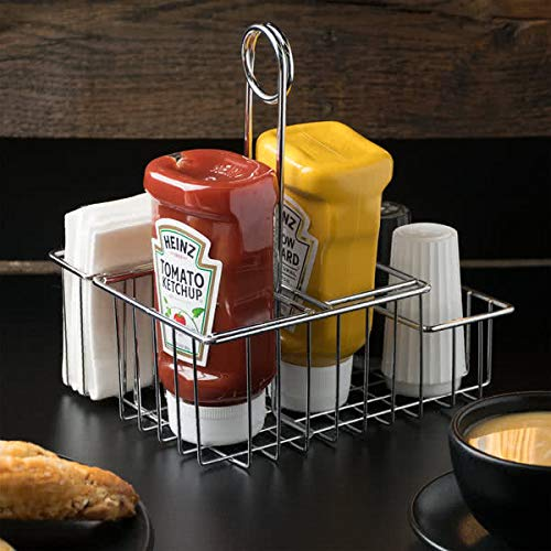 G.E.T. Enterprises Chrome Metal Four Compartment Condiment Caddy Metal Table Caddies Collection 4-21696 (Pack of 1)