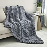 Sunyrisy Chunky Knit Throw Blanket, Luxury Soft Cozy Chenille Throw Blanket, Large Throw Bed Blanket for Couch, Sofa, Home Decor,Gift - Machine Washable (Dark Gray 40x48 in)