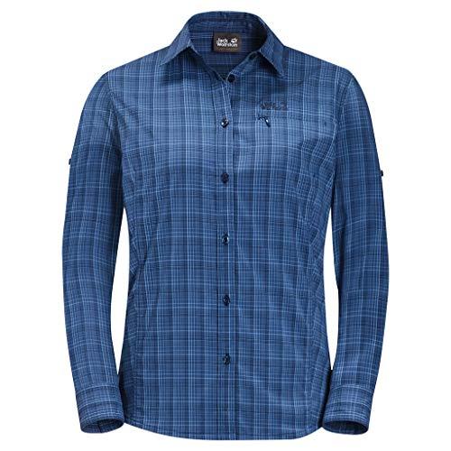 Jack Wolfskin Damen Centaura Flex Hemd, Dark Indigo Checks, XL