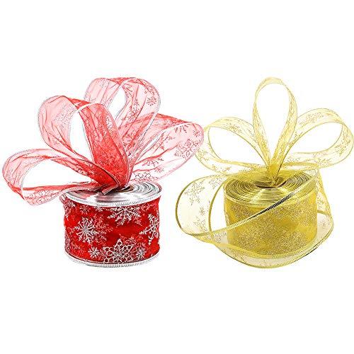 2 rollos de cinta de copo de nieve para árbol de Navidad con alambre rojo brillante para cinta de organza navideña para envolver regalos, decoración de árboles de Navidad (6,3 cm x 10 m)