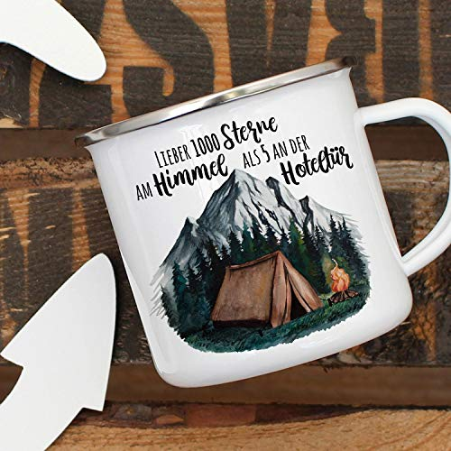 DKISEE Emaille Mok Camping Cup Tent Camping Wilderness Forest Mountains & Zeggen Beste 1000 Sterren in The Sky Coffee Cup Gift 10oz