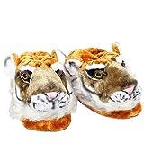 Sleeper'z - Tigre - Chaussons animaux peluche - Homme Femme Enfant - Cadeau original, Orange, 42/44 EU