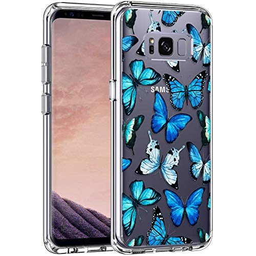 LUHOURI Samsung Galaxy S8 Case Clear with Blue Butterflies Design for Girls Women,Shockproof Hard PC Back Cover and Soft TPU Bumper Slim Fit Protective Phone Case for Galaxy S8